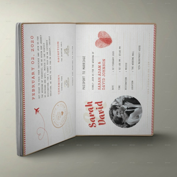 rustic passport wedding invitation template