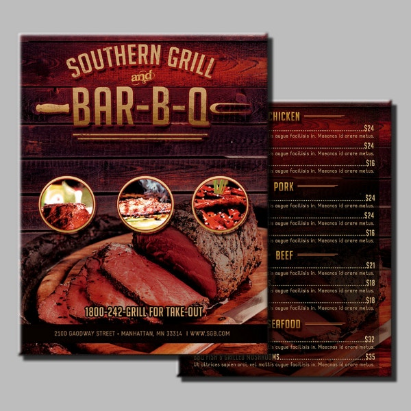 rustic southern barbecue menu design