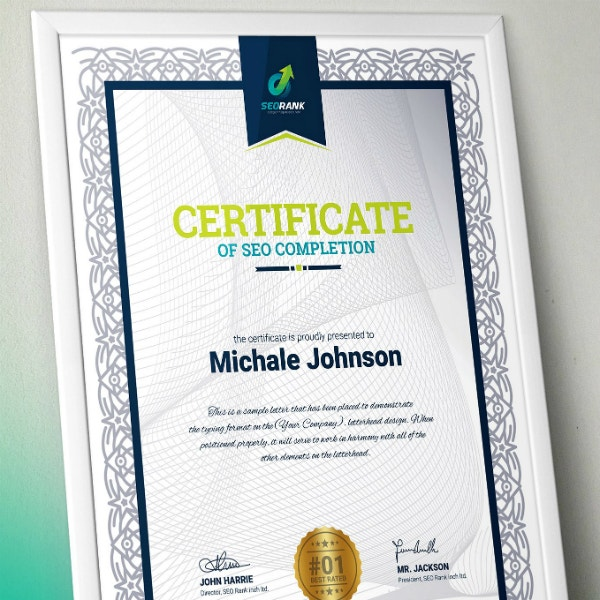 SEO Training Completion Certificate Sample