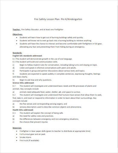 safety lesson plan forkindergarten