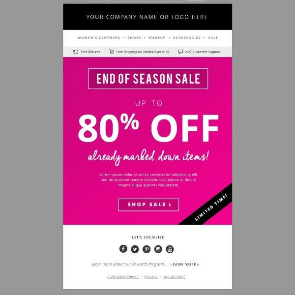 sales e mail newsletter templates