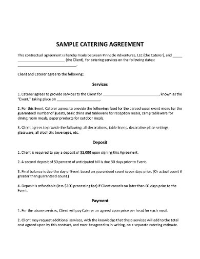 sample catering contract agreement template