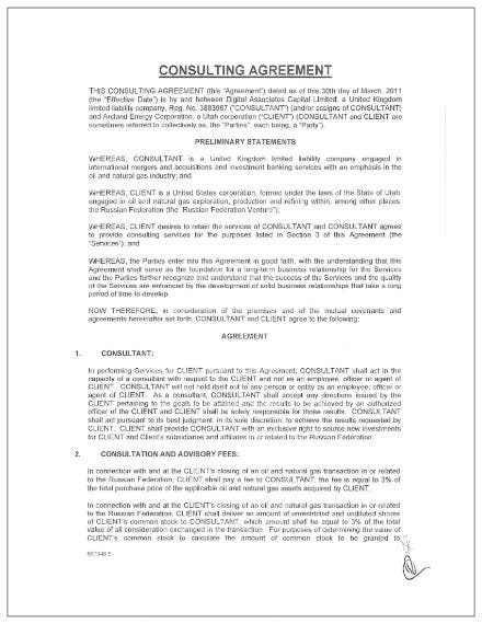sample consulting agreement 1