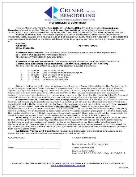 sample home remodeling contract 1