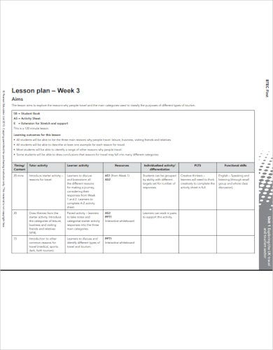 sample lesson activity plan