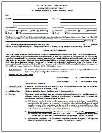 sample letter of intent to purchase commercial real estate