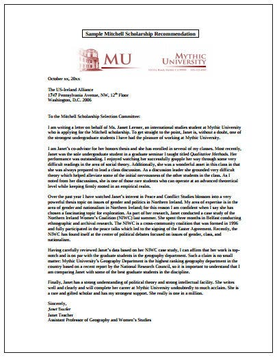 sample recommendation letter for scholarship