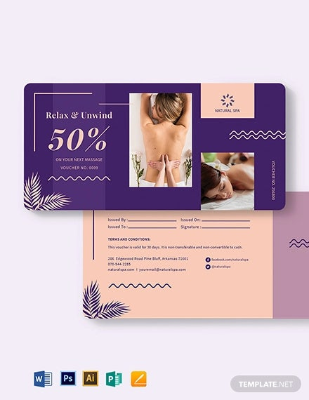 sample spa voucher template