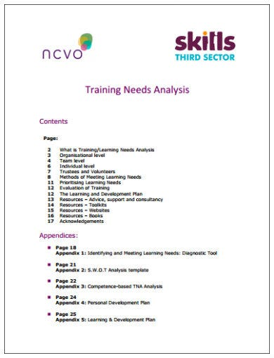 sample training needs analysis