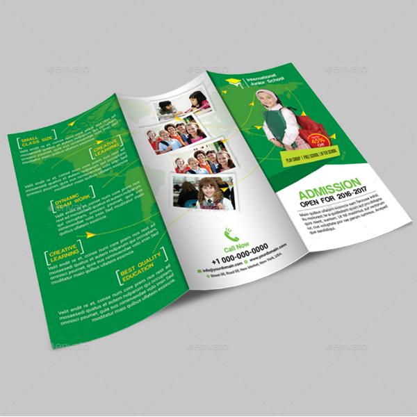 school admission tri fold brochure layout