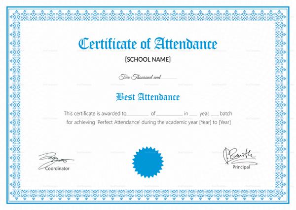 school attendance certificate template