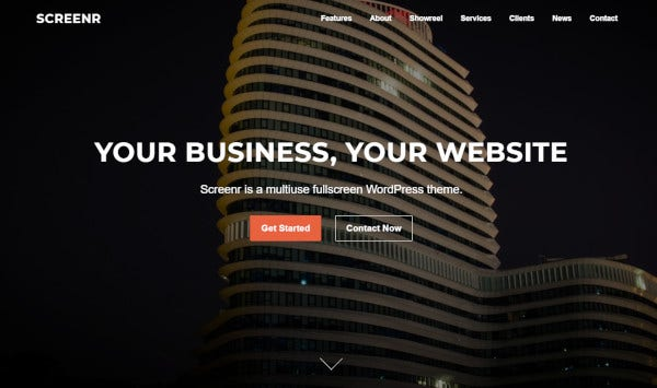 screenr – mobile friendly wordpress theme