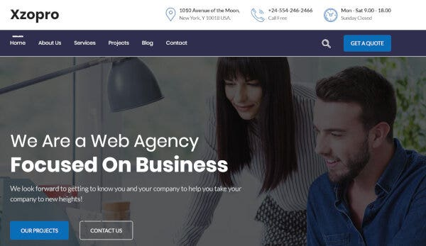 8. Xzopro – One-click Install WordPress Theme