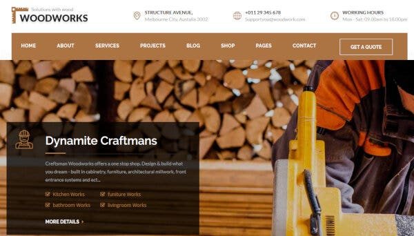 Wood Works – One-click Installer WP Theme