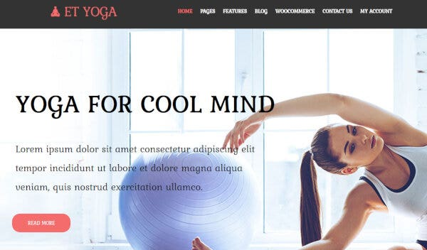 16. ET Yoga – Free WordPress Theme