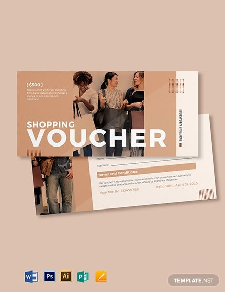 shopping spree voucher template