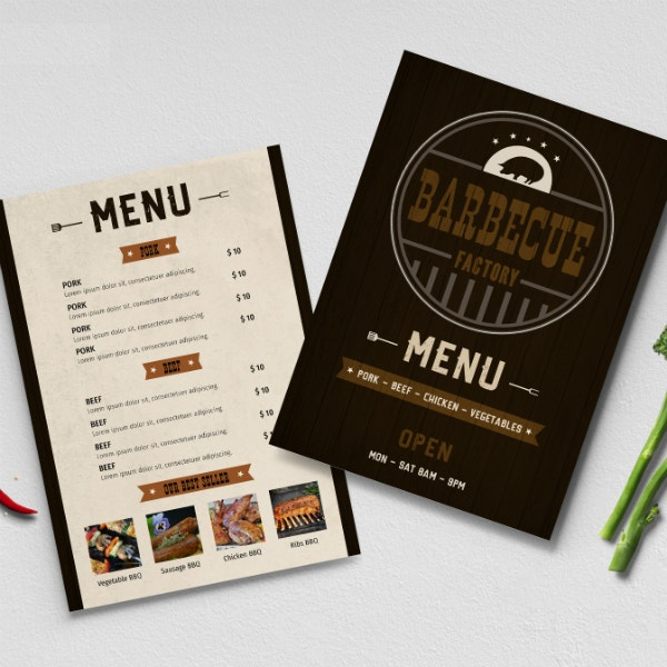 simple barbecue factory menu template