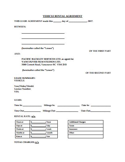 simple car rental agreement