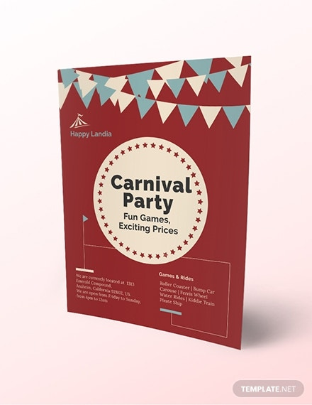simple carnival party flyer template