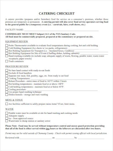 simple catering checklist template