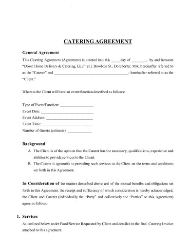 simple catering contract agreement