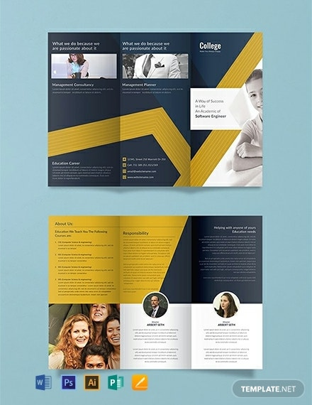simple college tri fold brochure sample