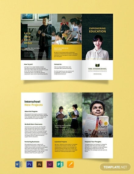 simple education trifold brochure template