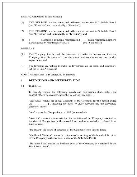 simple investment agreement 01