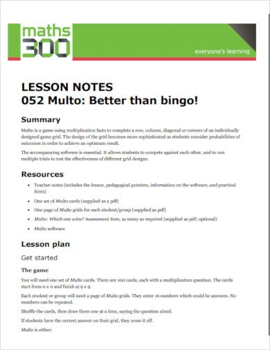 simple lesson notes