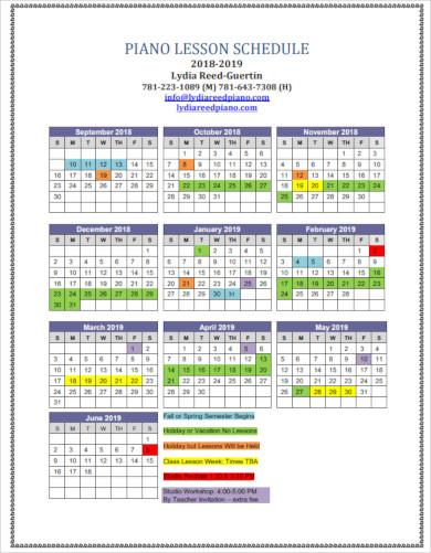 simple piano lesson schedule template