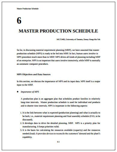 simple production schedule