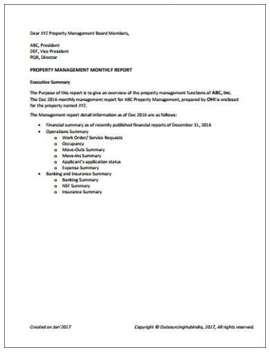 simple property management report