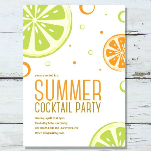 simple summer cocktail party invitation