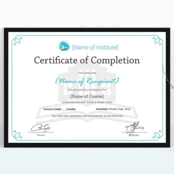 simple training completion certificate layout