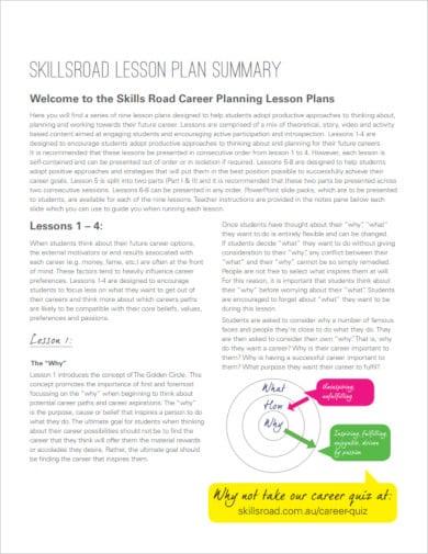 skillsroad lesson plan summary