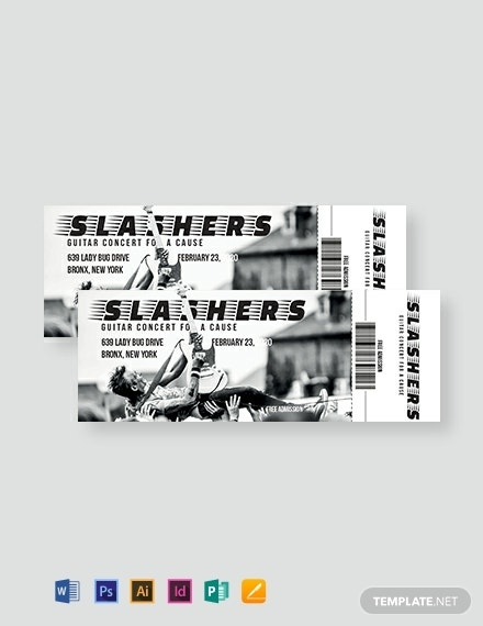 slashers concert admission ticket layout