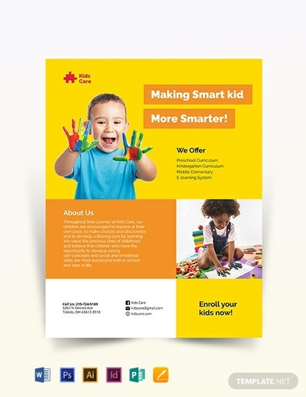 smart kids care flyer layout