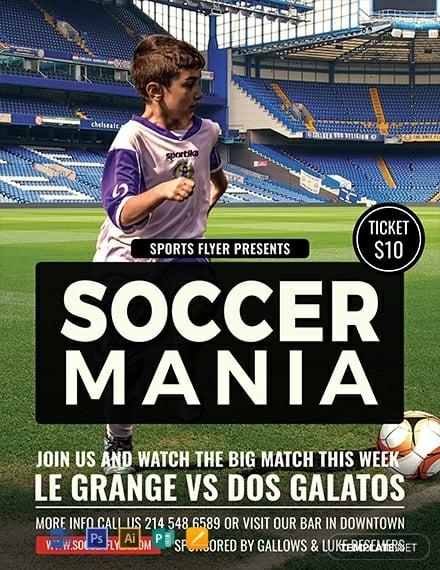 soccer mania sports flyer format