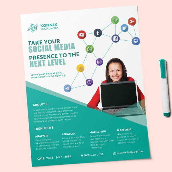 social media connect flyer design