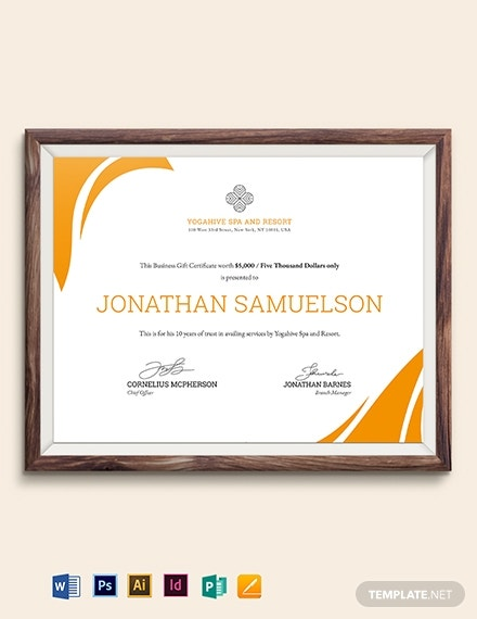 spa business gift certificate sample