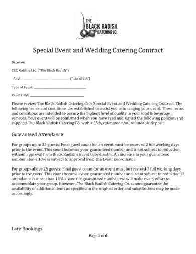 special event and wedding catering contract 1