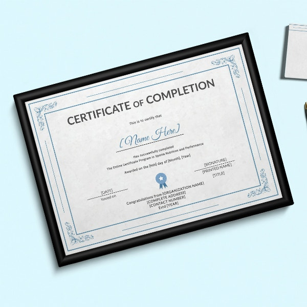 sports training completion certificate design