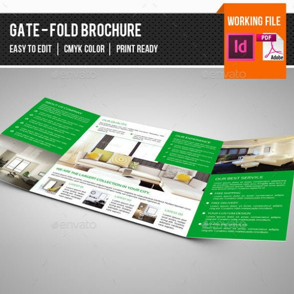 Square Gate-Fold Interior Brochure Template