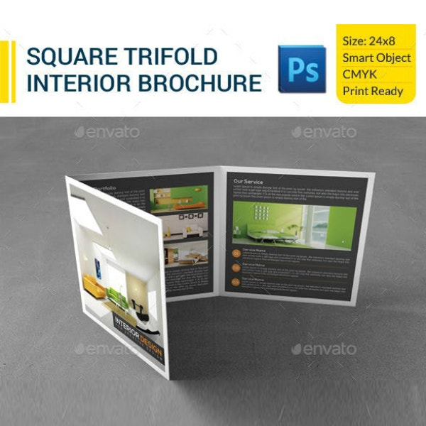 Square Tri-Fold Interior Brochure Example