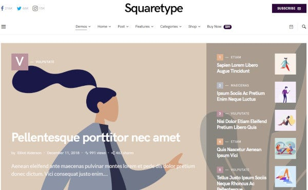 squaretype – responsive wordpress theme