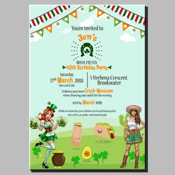 st patricks birthday party invitation layout
