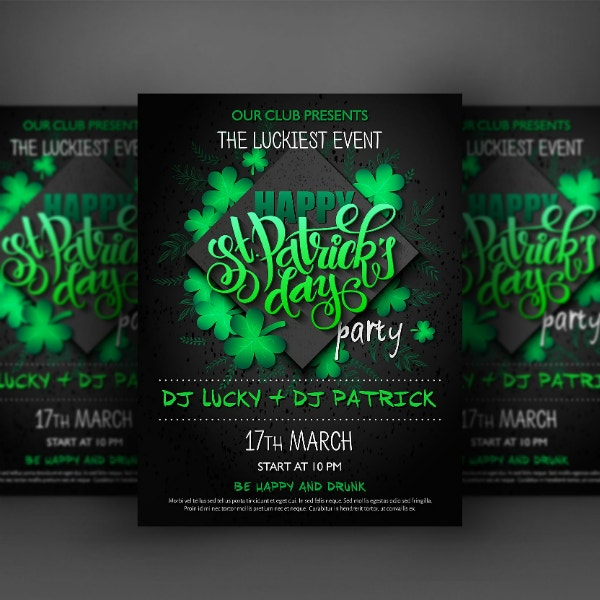 st patricks luckiest event poster layout