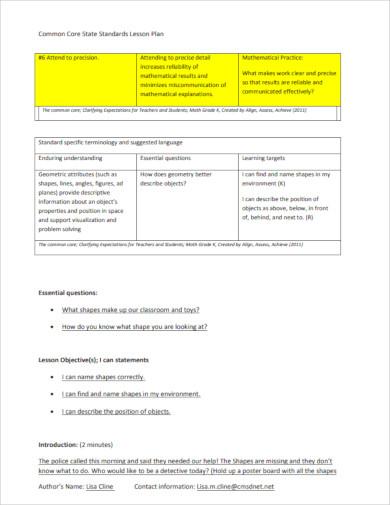 standard common core lesson plan