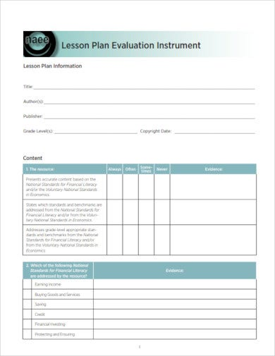 standard lesson plan evaluation
