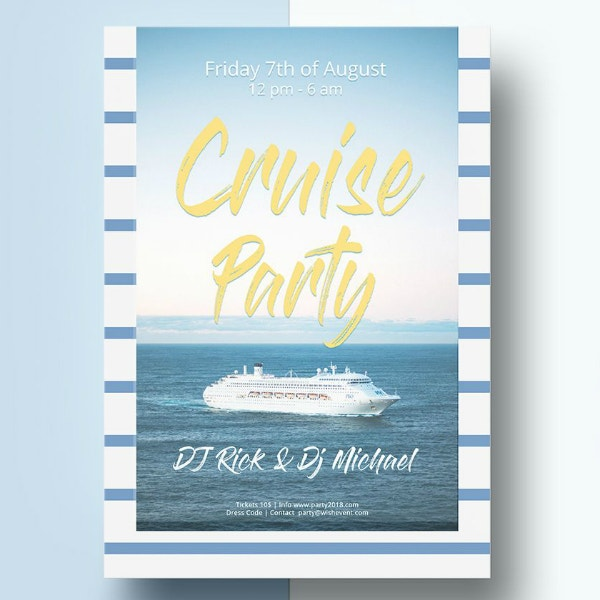 striped cruise party flyer template